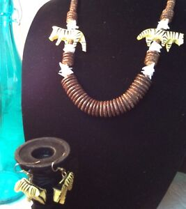 CUSTOM shell Wood ZEBRA EARRING & NECKLACE Jewelry Set yellowblackwhitebrown