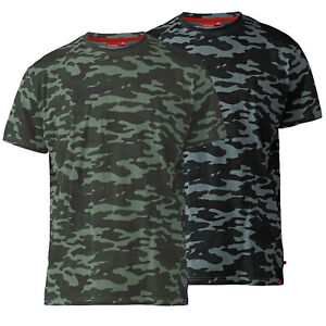 D555 DUKE TALL MENS CAMOUFLAGE PRINT T-SHIRT LONGER LENGTH GREEN GREY (T16427)