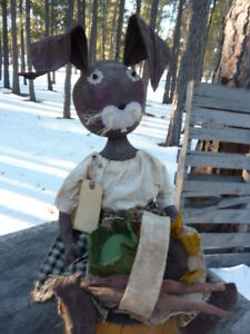 Primitive Folk Art Doll Bunny Rabbit WRabbit Teeth Cabbage Carrot Sunflower