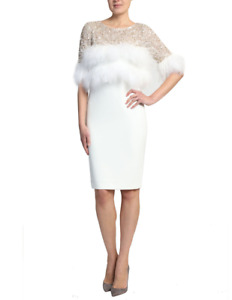 Badgley Mischka BEADED FEATHER COCKTAIL DRESS sz 8 White NWT Ivory Short Sleeve