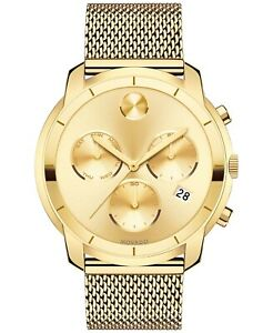 Movado Bold Chronograph Gold Ion Plated Mesh Bracelet Men's Watch 3600372