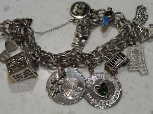Vintage Double Elco Sterling Silver Charm Bracelet 12 Charms 7.5