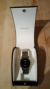 Movado Black Dial Stainless Steel Bracelet Swiss Automatic Watch 0605152