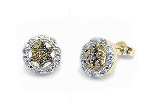 10K Yellow Gold Chocolate Brown & White Diamond Earrings .23ct Star Cluster Stud