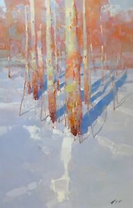 Sunny Winter Original Oil painting Handmade artwork Ready to hang Large Size
