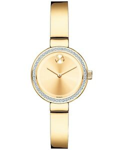 Movado Bold SWISS Diamond Accent Gold Dial Bangle Bracelet Ladies Watch 3600322