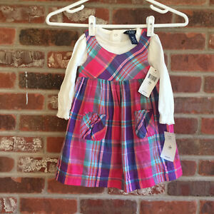 NWT Chaps  Dress  Plaid  With Long Sleeve Top Size 18 Months