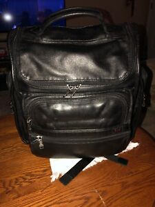 Tumi Black Leather Backpack Briefcase Laptop Brief Bag