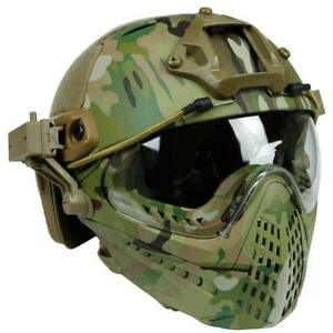 Tactical Airsoft Paintball Wargame Combat Pilot Fast Helmet with Full Face Mask
