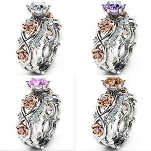 Fashion Women's Charm Jewelry Stainless Steel Rose Flower Ring Band Size 5-11