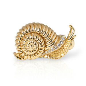 RENÉ BOIVIN 18K YELLOW GOLD DIAMOND VINTAGE SNAIL BROOCH COM1176