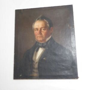 1864 Antique Oil Paintings Gentleman Portrait Signed by A. Phishak or Prishak