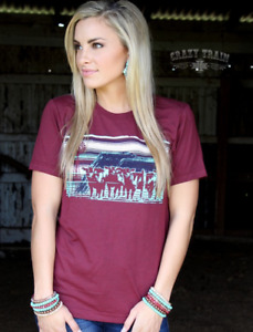 Crazy Train Cattle Drive Herd Windmill Turquoise Maroon Women T-Shirt