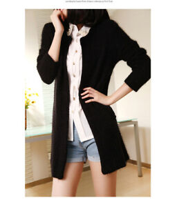 Christmas Thanksgiving Gift Present Black Mohair Cardigan Outwear Coat Top S Sz