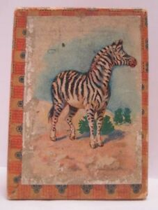 Old Miniature Christmas Toy Gift Box w Zebra Animal Lithograph Label $22.00