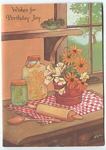 VINTAGE KITCHEN HERBS COOKING ROLLING PIN WOODEN SPOON JARS FLOWER GREETING CARD