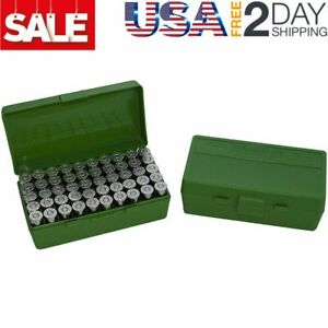 MTM 50 Round Flip-Top Ammo Box 25/32 Auto Cal (Green) Made in USA