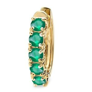 14K Yellow Gold Ladies Huggies Hoop Earring (Only 1Pc) Emerald New