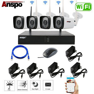 4CH Wireless CCTV Security Camera System WiFi Camera NVR Night Vision Home IPCam