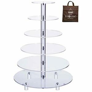 Large 6-Tier Acrylic Glass Round Wedding Cake Stand- Cupcake Tower Dessert Food