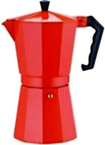 Economy Cuban Coffee Maker Aluminum Construction Red. 12 cups