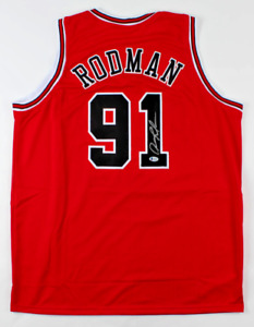 Chicago Dennis Rodman Signed Red Jersey Auto BAS Beckett COA $98.89