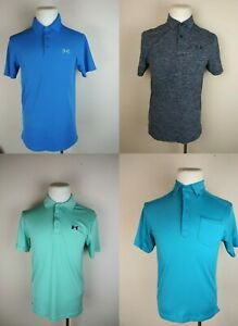 Lot Of 4 Under Armour Heat Gear Loose Polo Shirts Blue Black Mens Small Active