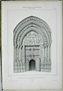 Lithography Door northern the portal of the Cathedral de Rouen