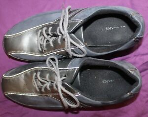 Clarks Oxfords Shoes Lace Ups Flats Leather Dark Blue Womens 11W $7.00