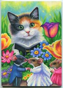 CALICO CAT SPRING SEASON GARDEN FLOWERS WEDDING MICE MOUSE BRIDE BIBLE PAINTING