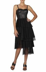 BCBG Maxazria Black CASANDRA Faux Leather Bustier Layered Asym Tulle Dress 0 XS