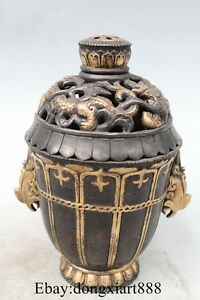 7 Chinese Royal Purple Bronze 24K Gold Dragon Palace Incense Burner Censer