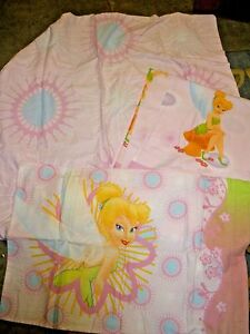 3 pc Vintage Disney Tinker Bell Twin Flat Fitted Pillowcase Sheet Set  Bedding