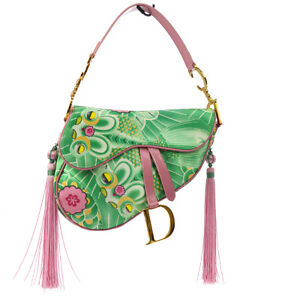 Authentic Christian Dior Saddle Imprime Fish Hand Bag Pink Satin Leather A41170a