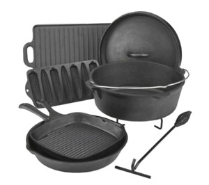 Camping cast Iron Cookware Set 7 Pieces Open Fire Cook Out in Wood Box FREE SHIP