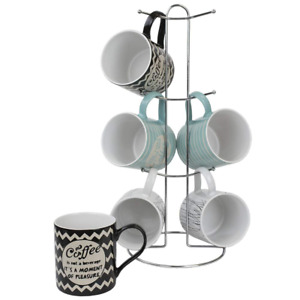 Home Basics 'It's Coffee Time' 6 Piece Mug Set With Stand Multi-Color