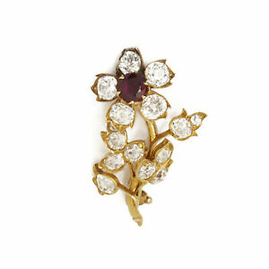 18K YELLOW GOLD BURMESE RUBY & DIAMOND VINTAGE FLOWER BROOCH COM2123