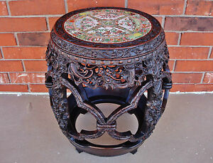 Chinese Qianlong Zitan Barrel-Form Stool (ZUODUN) w Rose Medallion Porcelain