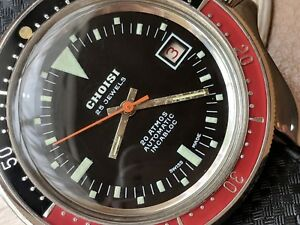 Vintage Choisi Diver Watch wCoke BezelBeautifully Cut All SS CaseTropic Band