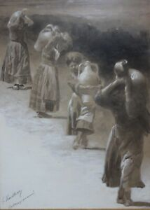 GASTON CHARLES VUILLIER French Realist Original Signed Gouache Water Carriers $399.00