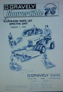 Gravely 7.6 Swiftamatic Walk Behind Lawn Garden Tractor Parts Manual 1967 hp L