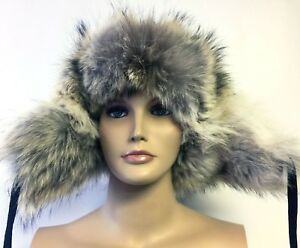 NORKO Candian Coyote Fur Aviator Bomber Trapper Hat XXL Black Suede