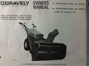 Gravely Walk-Behind Garden Tractor 28 & 34 Snow Blower Impl Owner & Parts Manual