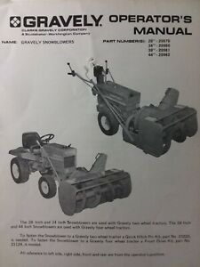Gravely Garden Tractor 28 38 44 & 34 SnowBlower Implement Owner & Parts Manual