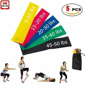 Resistance Bands Loop Set of 5 Exercise Workout CrossFit Fitness Yoga Booty Band $6.88