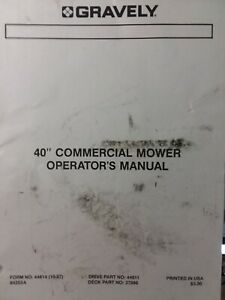 Gravely Walk-Behind Garden Tractor 40 Mower Implement Owner & Parts Manual 37896
