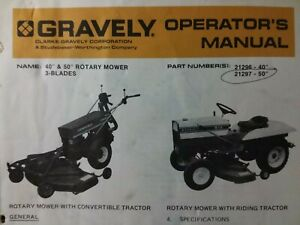 Gravely Garden Tractor 40 & 50 Mower Implement Owner & Parts Manual 21297 21296