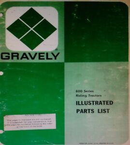 Gravely 800 810 812 816 816S Riding Lawn Garden Tractor Parts Manual 1976