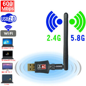 600Mbps Wireless USB Wifi Network Adapter Dongle Dual Band 2.4G5Ghz wAntenna