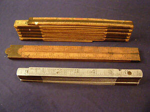 3 VINTAGE FOLDING RULERS LUFKIN 1206 ALUMINUM amp; 46X RED END WOOD STANLEY 66 1 2 $40.00